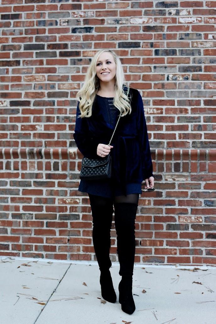 Velvet Crush: Blue Velvet Wrap Blazer