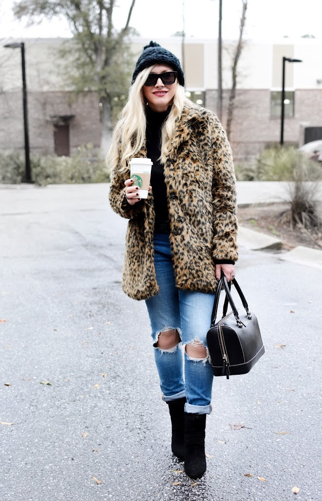 Faux Fur Leopard Coat