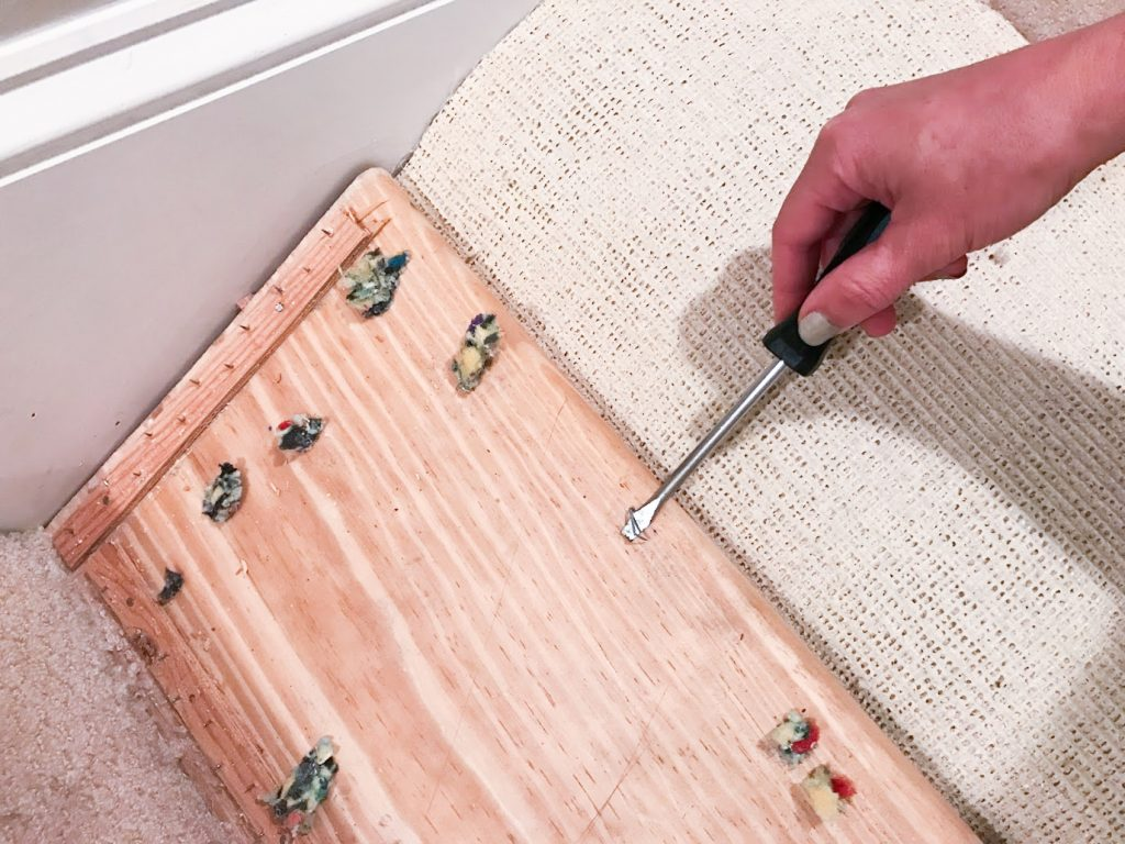 DIY Budget Stair Makeover : Kiss That Old Carpet Goodbye for under $100 // BreeAtLast.com
