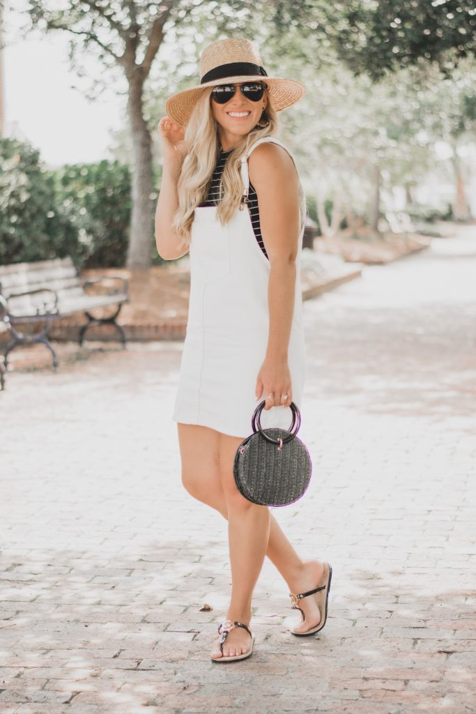 Summer Style : Cutest White Mini Dress Overalls // BreeAtLast.com