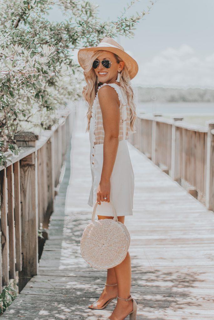 Summer Style Inspo | White Bib Ruffle Trim Romper | BreeAtLast.com