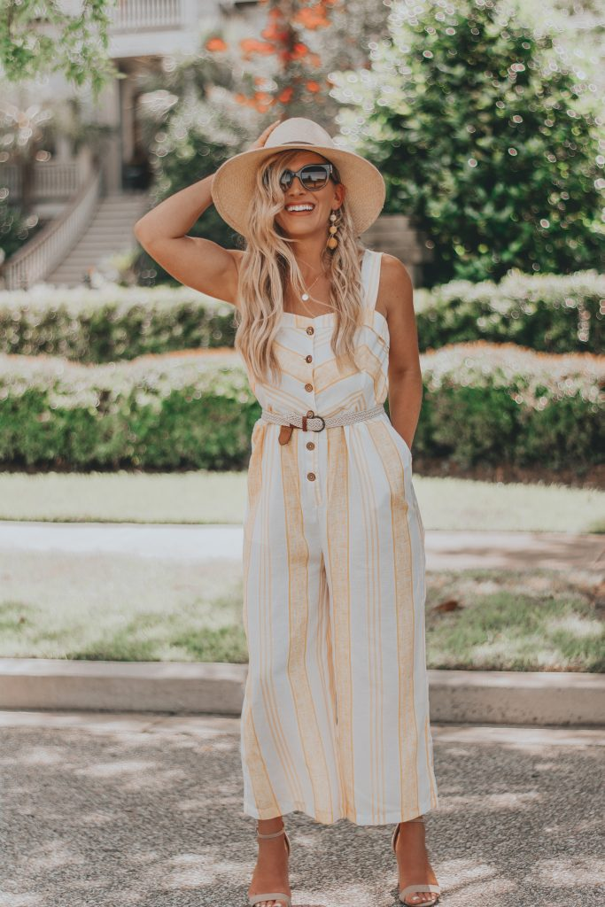 21 Dollar Yellow Striped Jumpsuit | Summer Style Inspo | BreeAtLast.com