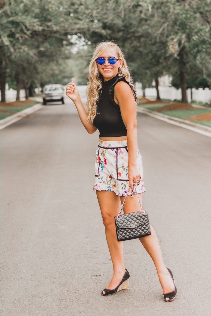 Florals and Ruffles | Floral Ruffle Trimmed Shorts | BreeAtLast.com