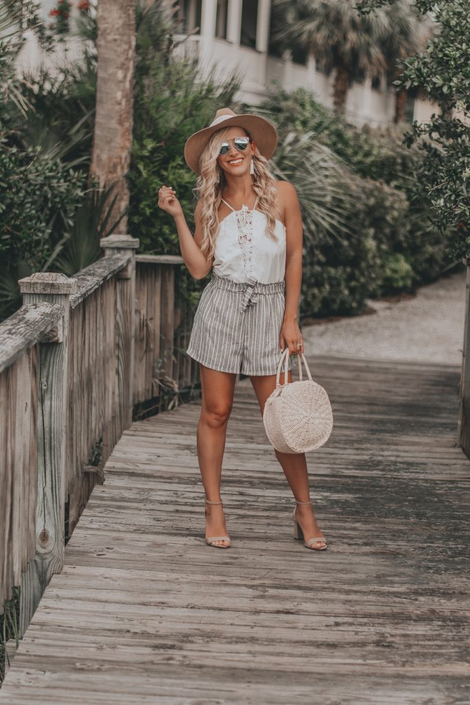 Striped Paper Bag Waisted Shorts | Budget Friendly Summer Style | BreeAtLast.com