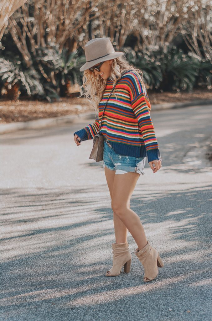 Rainbow Striped Sweaters   A Colorful Take on Fall Fashion   BreeAtLast.com