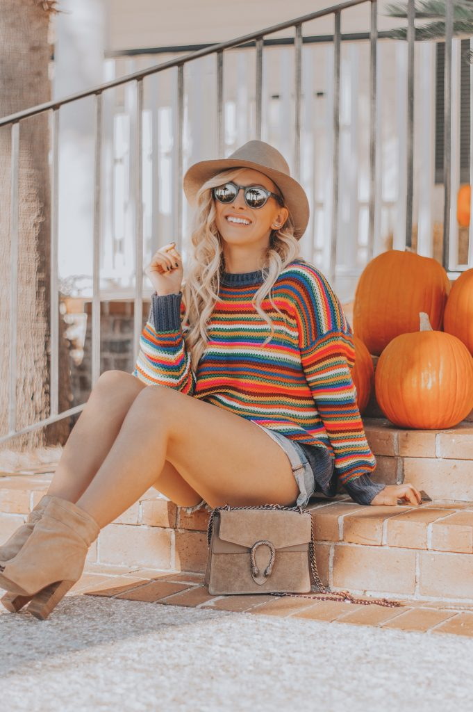 Rainbow Striped Sweaters | A Colorful Take on Fall Fashion and My October Recap