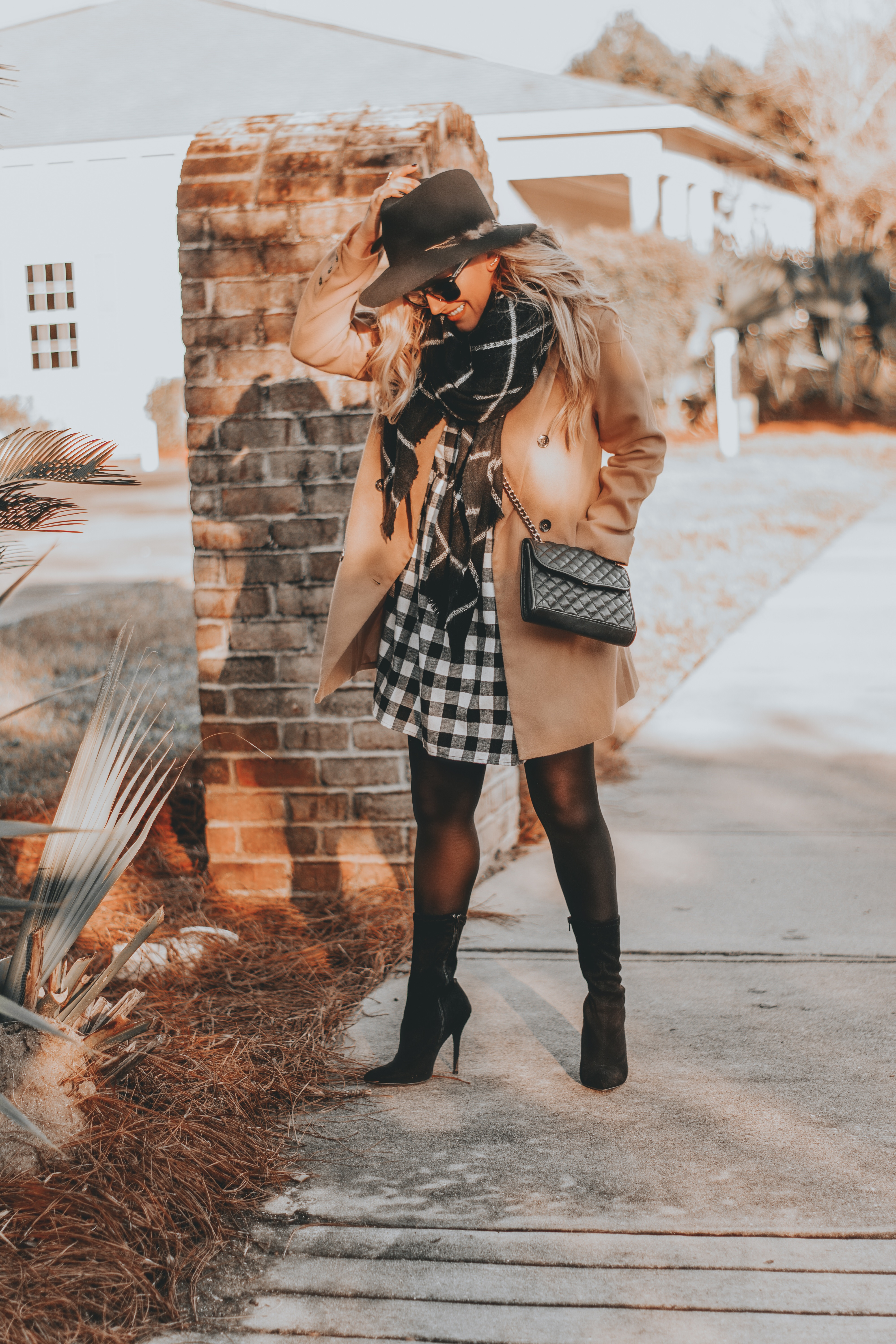 New Year, New Goals | What I Plan to Focus on in 2019 : sharing my budget friendly black and white plaid dress and camel coat ootd, as well as my 2019 new year goals. BreeAtLast.com