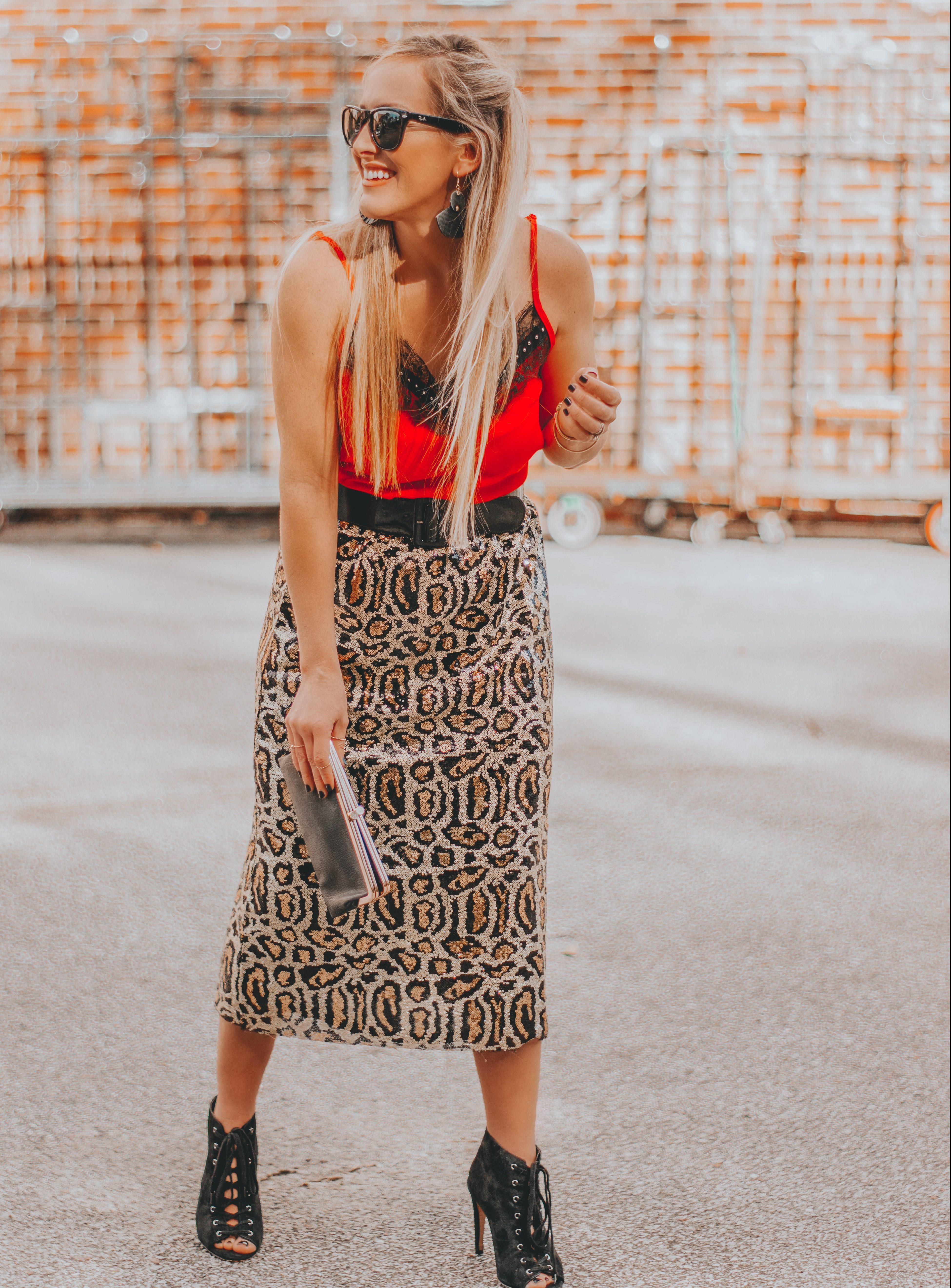 $25 Leopard Sequin Skirt + Budget Friendly Valentine's Outfit Inspo   BreeAtLast.com