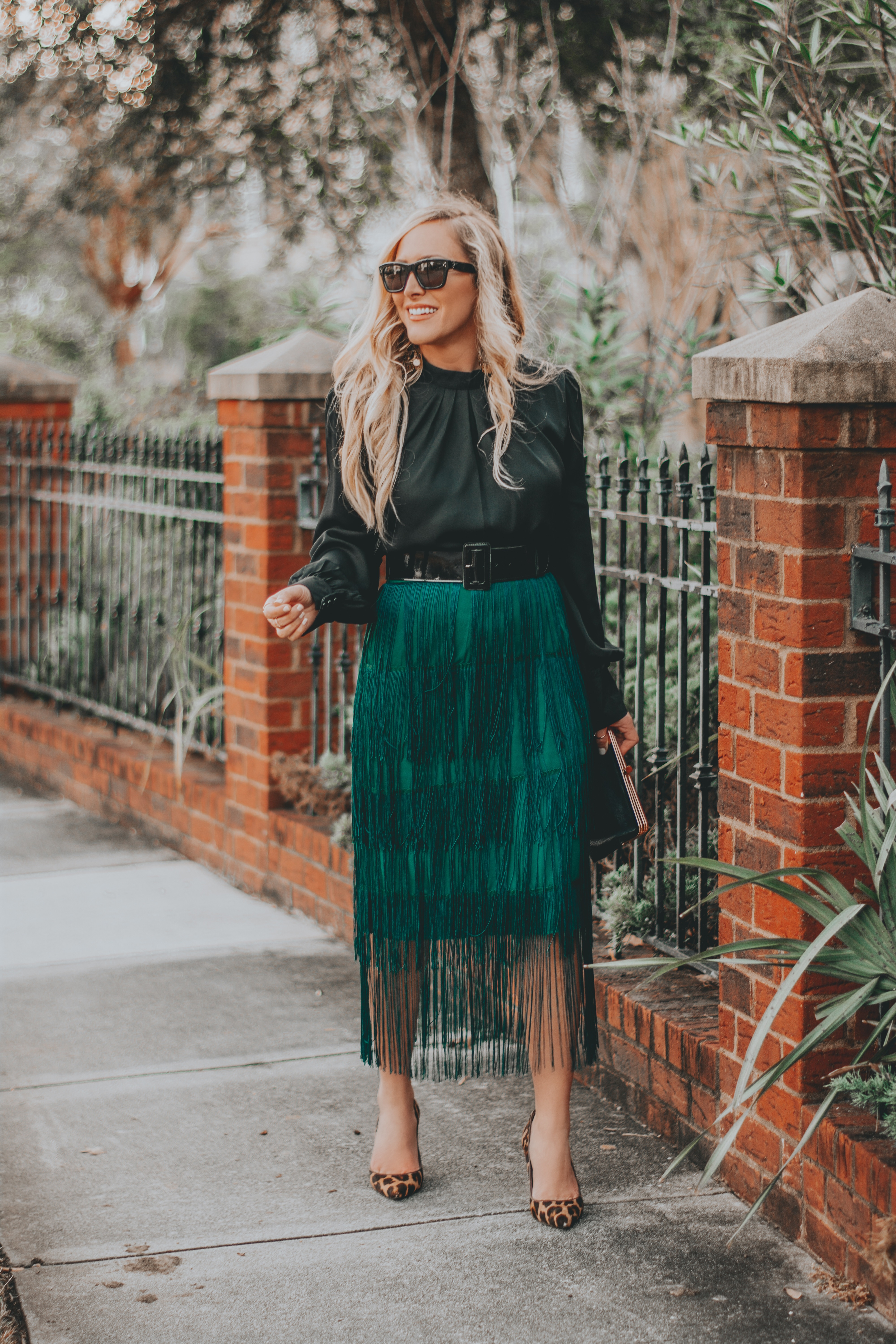 Fun Green Fringe Skirt | The Perfect Holiday Party Look | BreeAtLast.com
