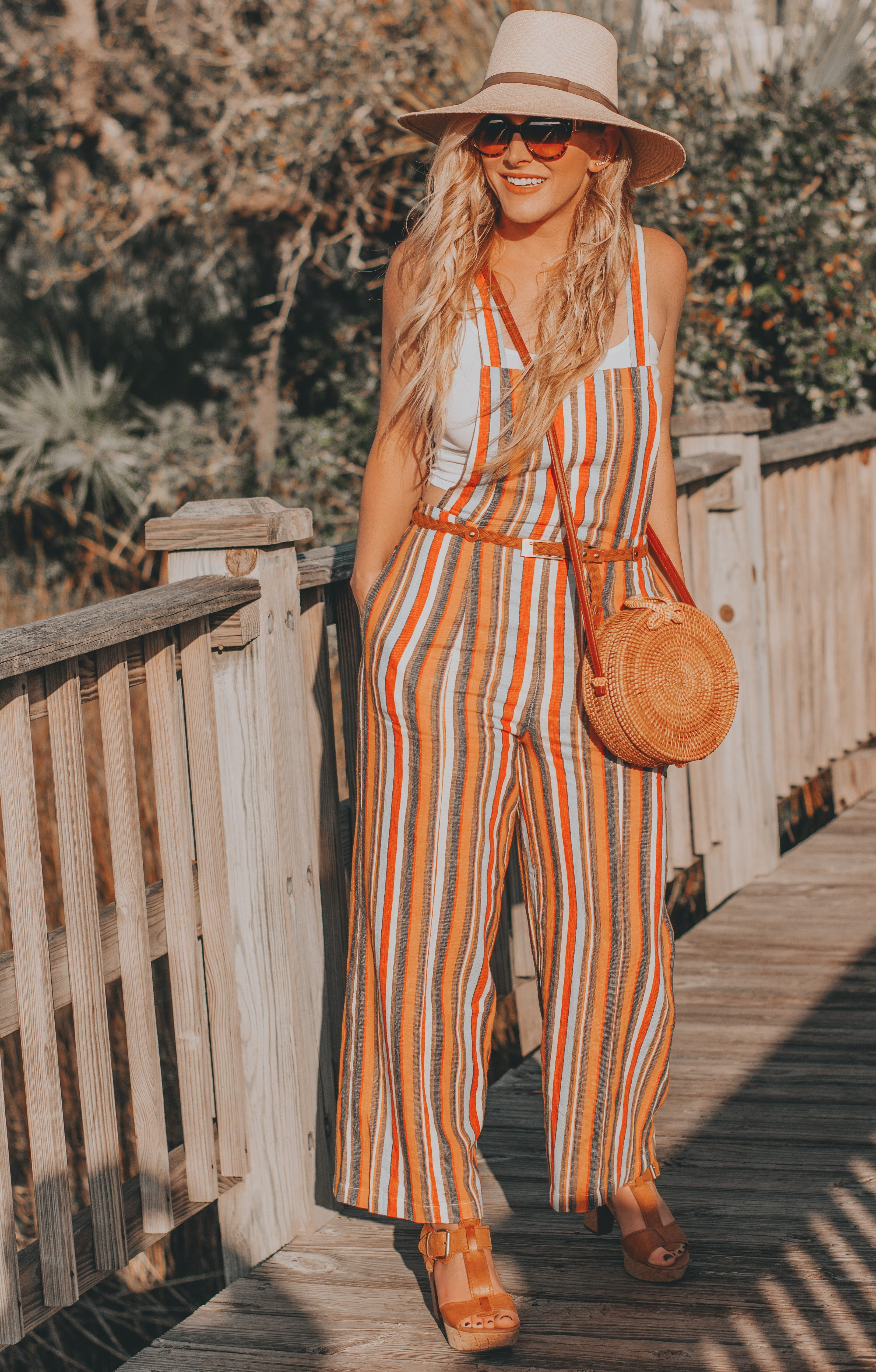The Perfect Striped Linen Jumpsuit Under $30| BreeAtLast.com | Sharing shopping details of this fun spring look, and my new vacay packing strategy.